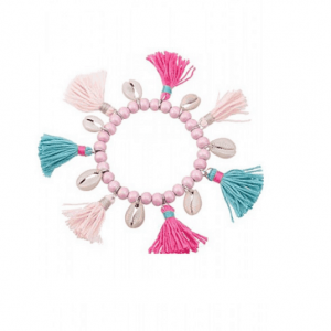 pink beaded bracelet, tassels, shell, summer, blue