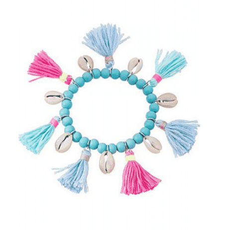 kralen armband, schelpen, kwastjes, roze, blauw