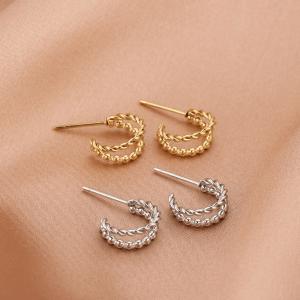 stainless steel oorbellen, sieraden, rond, dames, accessoires, goud, zilver, roestvrij staal