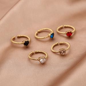 stainless steel ring, sieraden, dames, accessoires, hartje, diamant, goud