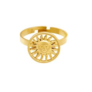 stainless steel, ring, rvs, verstelbaar, roestvrije staal, zon, goud, zilver, dames, sieraden, jewellery