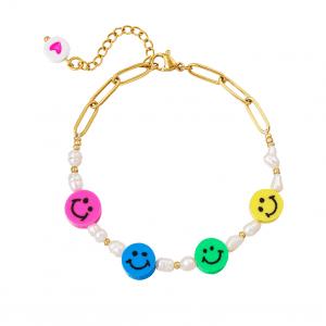 stainless steel, bracelet, gold, stainless steel, nickel free, summer, spring, pearl, smile