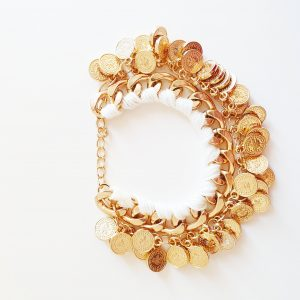 statement bracelet, coin, gold, white, jewellery, aphrodite