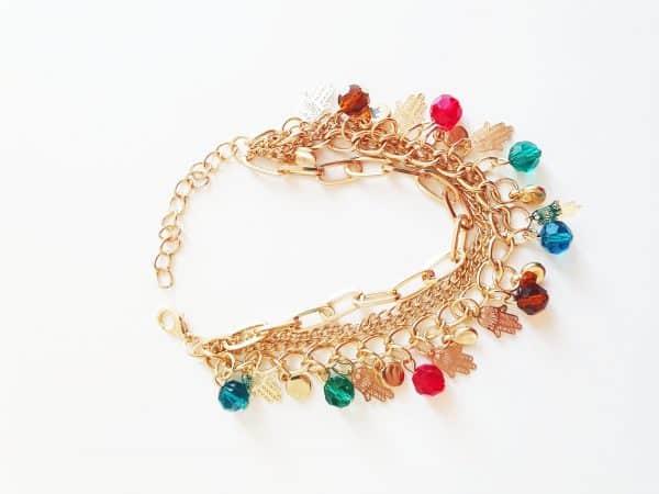 statement bracelet, hamsa hand, fatima hand, link, colorful, beads, aphrodite