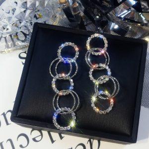 statement oorbellen, kristallen, cirkels, zilver