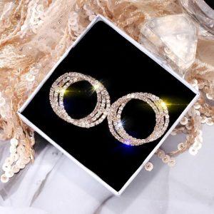 statement earrings, zirkonia, round, jewellery, accessoires