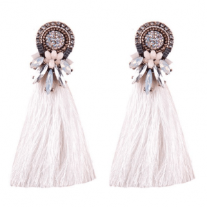 statement earrings, white tassel, crystals, jewellery