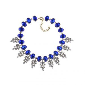 statement ketting, diamanten, sieraden, accessoires, grote ketting, blauw, kristallen