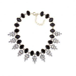 statement ketting, diamanten, sieraden, dames, accessoires, zwart, kristallen