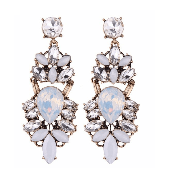 Statement Earrings With White Crystals