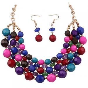 jewellery set, statement necklace, drop earrings, beads