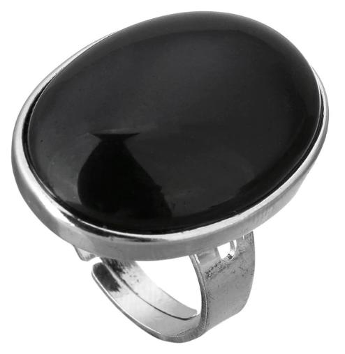 zilver statement ring, zwarte ring, sieraden