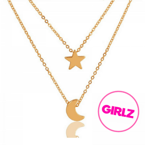 Gold Moon And Star Layered Necklace. click hear to shop more layered necklaces. Shop all musthave jewellery by aphrodite. Free worldwide shipping and gift.