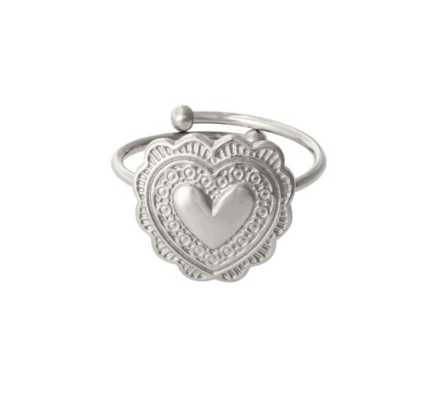 verstelbare ring, stainless steel, hartje, nikkelvrij, roestvrije staal, dames, sieraad, sieraden, jewellery, jewelry