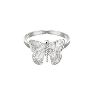 verstelbare ring, vlinder, zilver, goud, nikkel vrij, stainless steel, roestvrije staal, dames