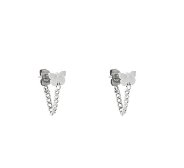vlinder oorbellen, chain, stainless steel, rvs, roest vrij staal, sieraden, dames, accessoires