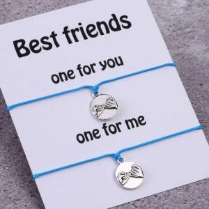 vriendschapsarmbandjes set , pinky promise, blauw, touw, bff sieraden