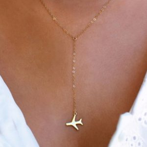 y necklace, plane, gold