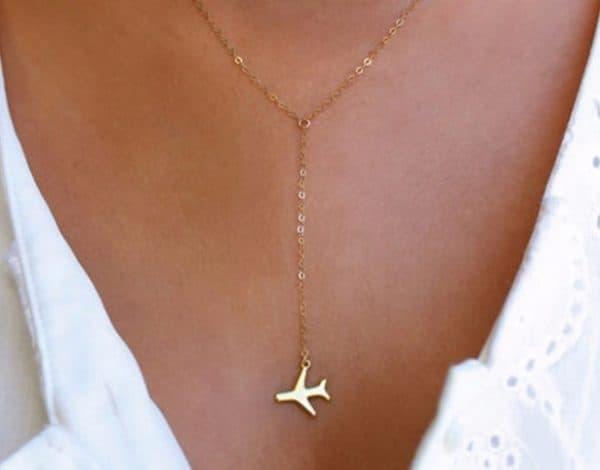 y necklace, plane, gold