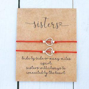 zussen, armbanden set, rood, zilver, hartje, sisters, cadeau