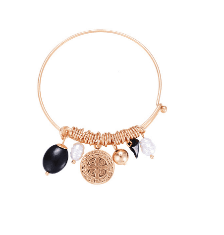 Gold Bangle Bracelet With Charms