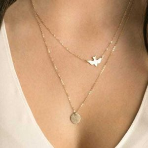 Layered Necklace Bird And Disc. Click hear for more beautiful layered necklaces.Shop all musthave jewellery by aphrodite.Free worldwide shipping.