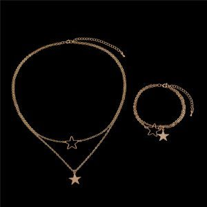 Star Layered Necklace+Bracelet Set. Click hear for more beautiful layered necklaces.Shop all musthave jewellery by aphrodite.Free worldwide shipping.