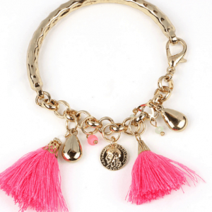 Gold Bracelet With Pink Tassels And Charms. Click here for more bracelets. Shop all musthave jewellery by Aphrodite. Free worldwide shipping and gift.