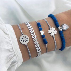 armbanden set, zilver, blauw, klavertje vier, sieraden, sieraad, dames, jewellery, jewelry
