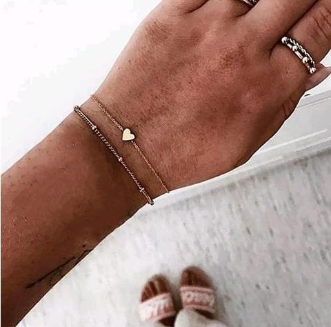 bracelet set, heart, gold, silver