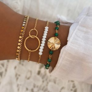 bracelet set, coins, circle, green, beads, jewellery