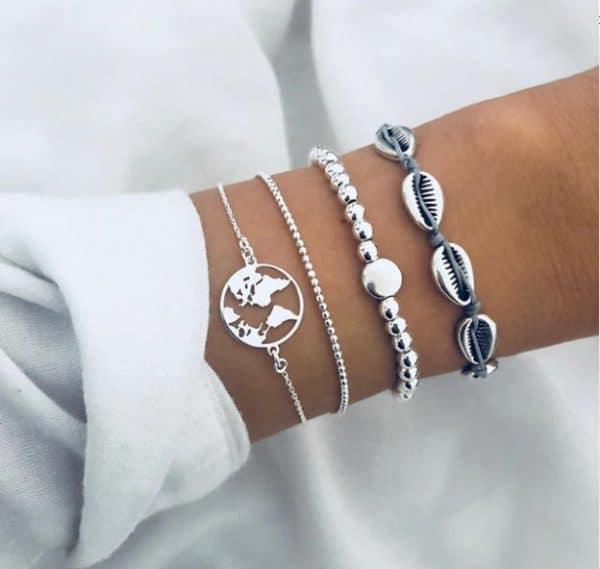 armbanden set, schelpen, zilver, wereldkaart, sieraden, dames