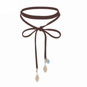 Brown Wrap Choker With Blue Stone.click hear to shop more beautiful chokers. Shop all musthave jewellery by aphrodite. Free worldwide shipping and gift.
