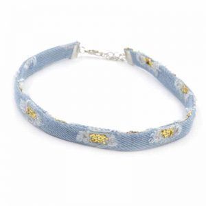Denim Choker With Gold Glitters.click hear to shop more beautiful chokers. Shop all musthave jewellery by aphrodite. Free worldwide shipping and gift.