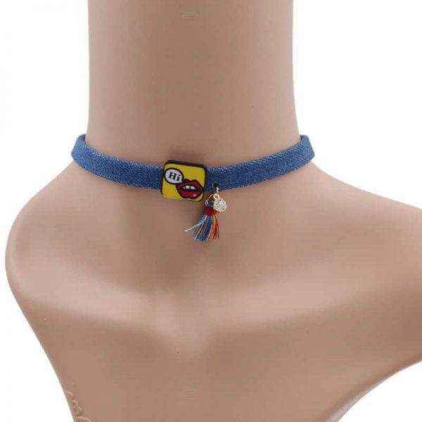 Blue Denim Choker ''Hi''.click hear to shop more beautiful chokers. Shop all musthave jewellery by aphrodite. Free worldwide shipping and gift.