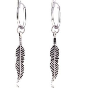 creole, earrings, feather, silver, jewellery