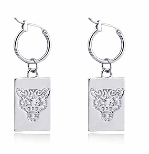 creole earrings, leopard, silver,jewellery