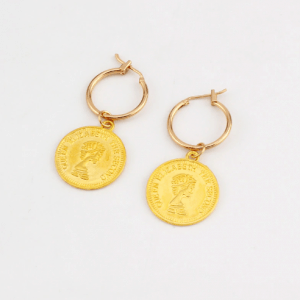 creole earrings, coin, gold , jewellery, fashion