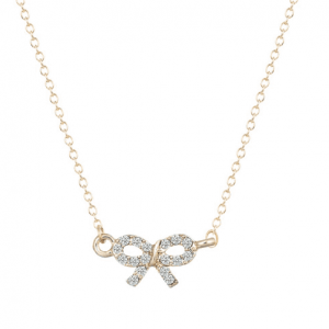 minimalist necklace bow crystal