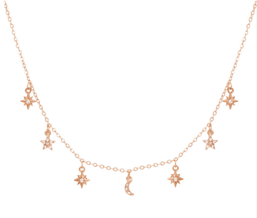 Necklace Crystal Moon And Star-Gold. Click here for more delicate necklaces. Shop all musthave jewellery by Aphrodite. Free worldwide shipping and gift.