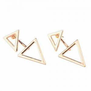 Gold Double Triangle Earrings.Click here for more delicate earrings. Shop all musthave jewellery by Aphrodite. Free worldwide shipping and gift.