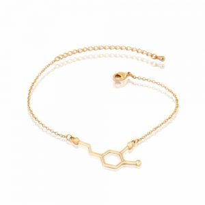 Gold Dopamine Molecule Bracelet. Click here for more beautiful bracelets. Shop all musthave jewellery by Aphrodite. Free worldwide shipping and gift.