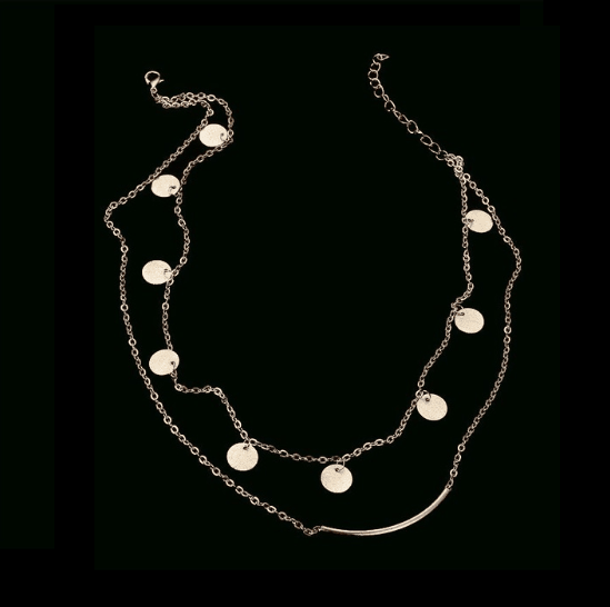 Layered Necklace With Discs-Gold. Click hear for more beautiful layered necklaces.Shop all musthave jewellery by aphrodite.Free worldwide shipping.