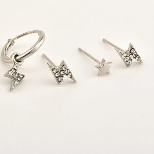 earrings set, lightning, silver,jewellery