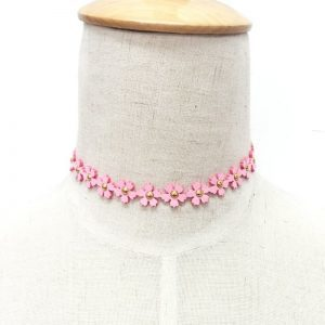 Pink Flower Choker.Click here for more beautiful chokers. Shop all musthave jewellery by Aphrodite. Free worldwide shipping and gift.
