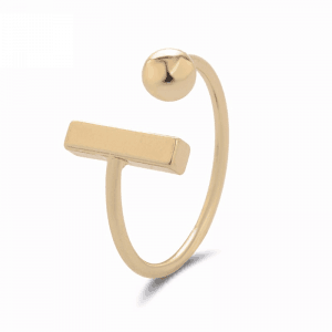 Gold Ring With Ball And Bar. Click here for more delicate rings. Shop all musthave jewellery by Aphrodite. Free worldwide shipping and gift.