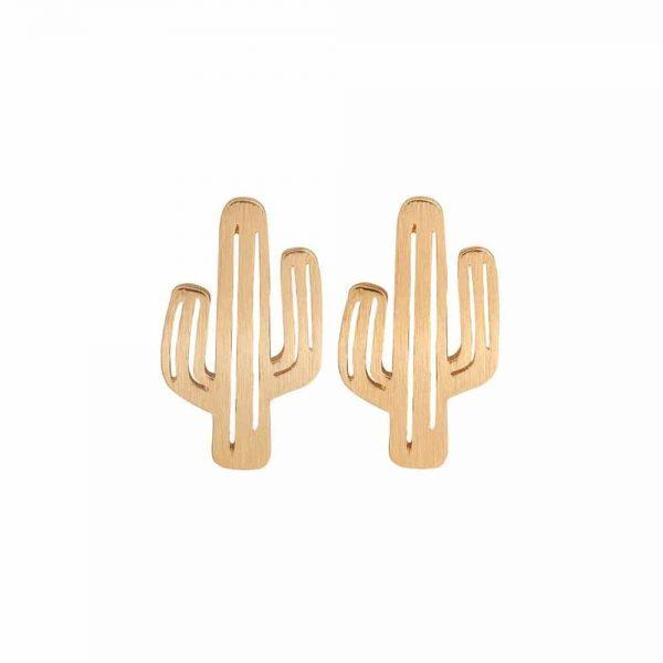 Minimalistische, studs oorbellen, cactus, goud, sieraden,
