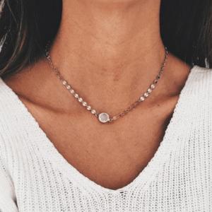 minimalistische ketting, muntjes, goud, musthave, sieraden