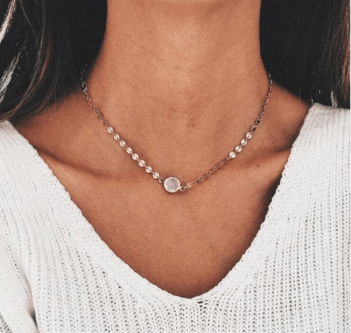 Gold Disc Necklace With White Stone. click hear to shop more delicate necklaces. Shop all musthave jewellery by aphrodite. Free worldwide shipping and gift.