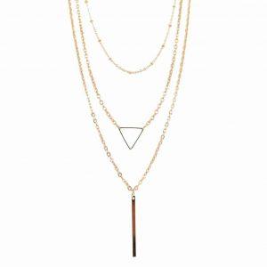 Gouden Dubbele Ketting Met Driehoek. Klik hier voor meer leuke gouden en zilveren dubbele kettingen. Shop alle musthave sieraden bij Aphrodite.